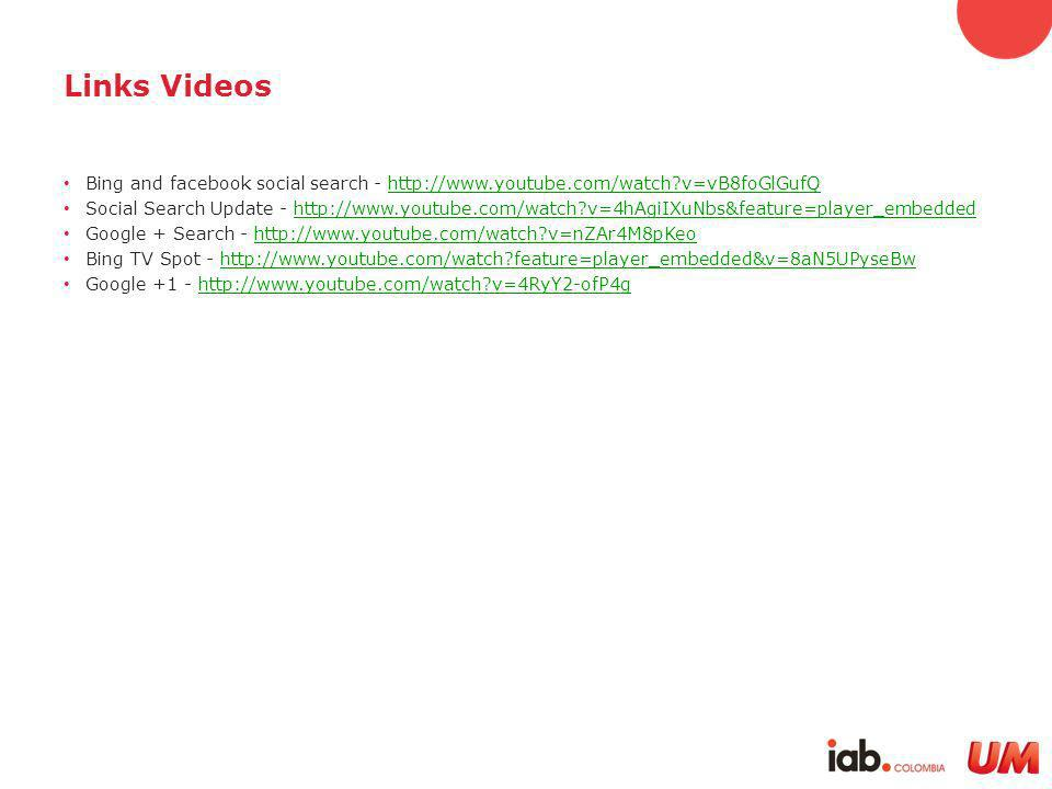 Links Videos Bing and facebook social search - http://www.youtube.com/watch v=vB8foGlGufQhttp://www.youtube.com/watch v=vB8foGlGufQ Social Search Update - http://www.youtube.com/watch v=4hAgiIXuNbs&feature=player_embeddedhttp://www.youtube.com/watch v=4hAgiIXuNbs&feature=player_embedded Google + Search - http://www.youtube.com/watch v=nZAr4M8pKeohttp://www.youtube.com/watch v=nZAr4M8pKeo Bing TV Spot - http://www.youtube.com/watch feature=player_embedded&v=8aN5UPyseBwhttp://www.youtube.com/watch feature=player_embedded&v=8aN5UPyseBw Google +1 - http://www.youtube.com/watch v=4RyY2-ofP4ghttp://www.youtube.com/watch v=4RyY2-ofP4g