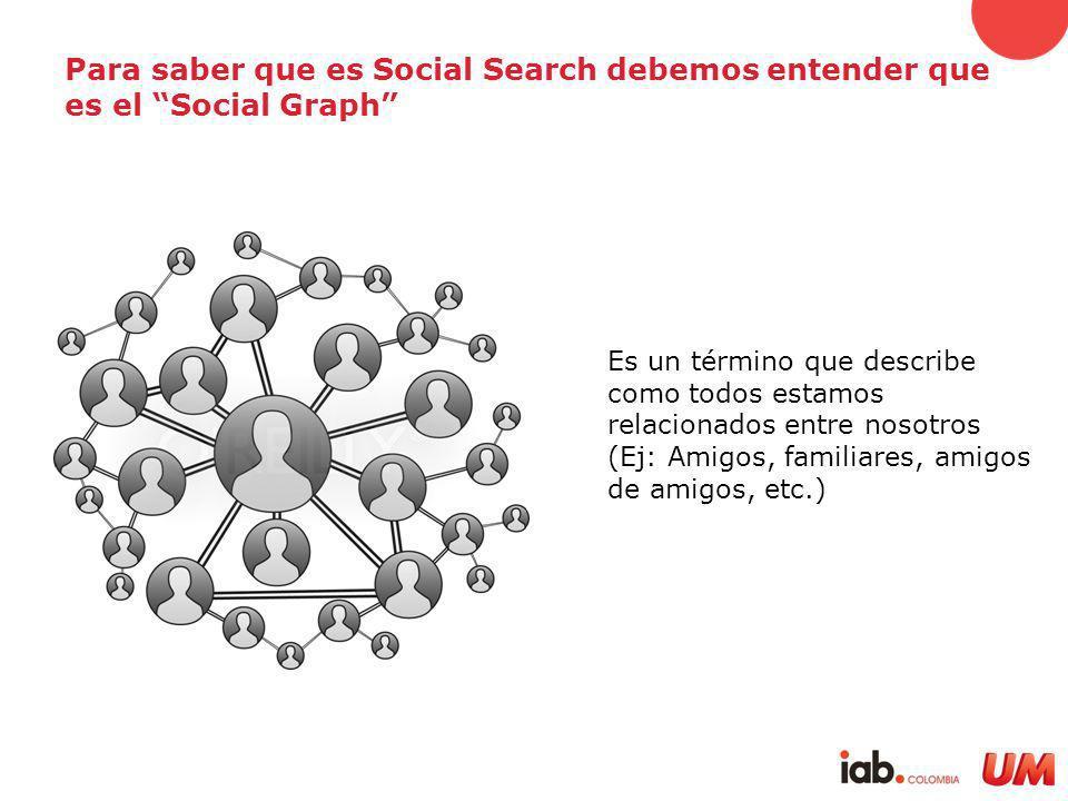 Para saber que es Social Search debemos entender que es el Social Graph Es un término que describe como todos estamos relacionados entre nosotros (Ej: Amigos, familiares, amigos de amigos, etc.)