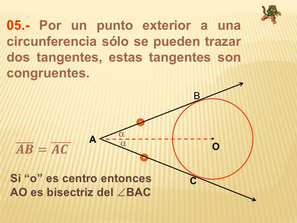 05.- Por un punto exterior a una circunferencia sólo se pueden trazar dos tangentes, estas tangentes son congruentes. O A B C Si o es centro entonces