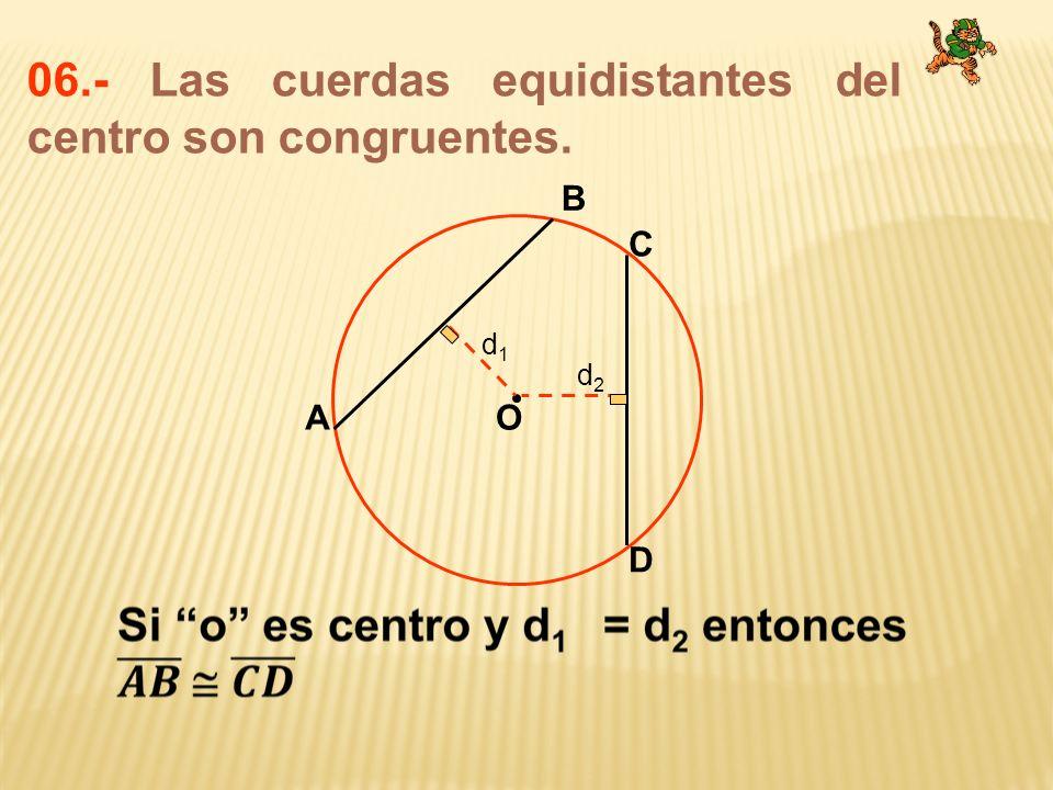 06.- Las cuerdas equidistantes del centro son congruentes. O B A C D d1d1 d2d2