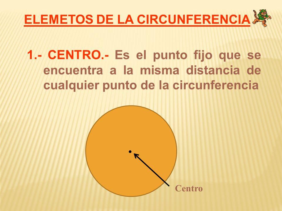 ELEMETOS DE LA CIRCUNFERENCIA 1.- CENTRO.- Es el punto fijo que se encuentra a la misma distancia de cualquier punto de la circunferencia Centro