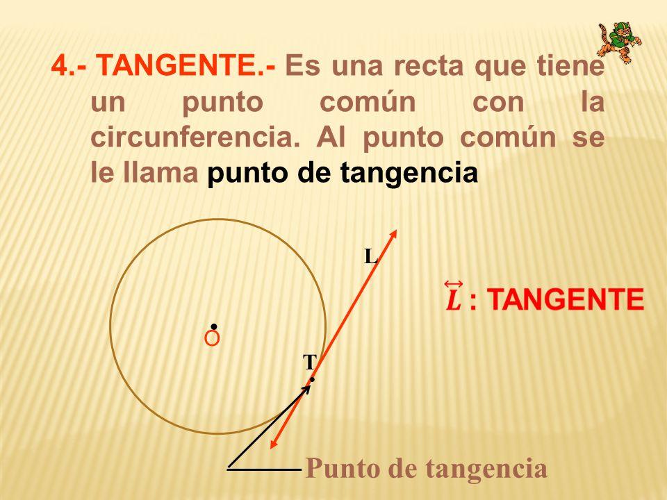 4.- TANGENTE.- Es una recta que tiene un punto común con la circunferencia. Al punto común se le llama punto de tangencia O T Punto de tangencia L