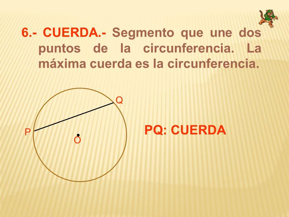 6.- CUERDA.- Segmento que une dos puntos de la circunferencia. La máxima cuerda es la circunferencia. O P Q PQ: CUERDA