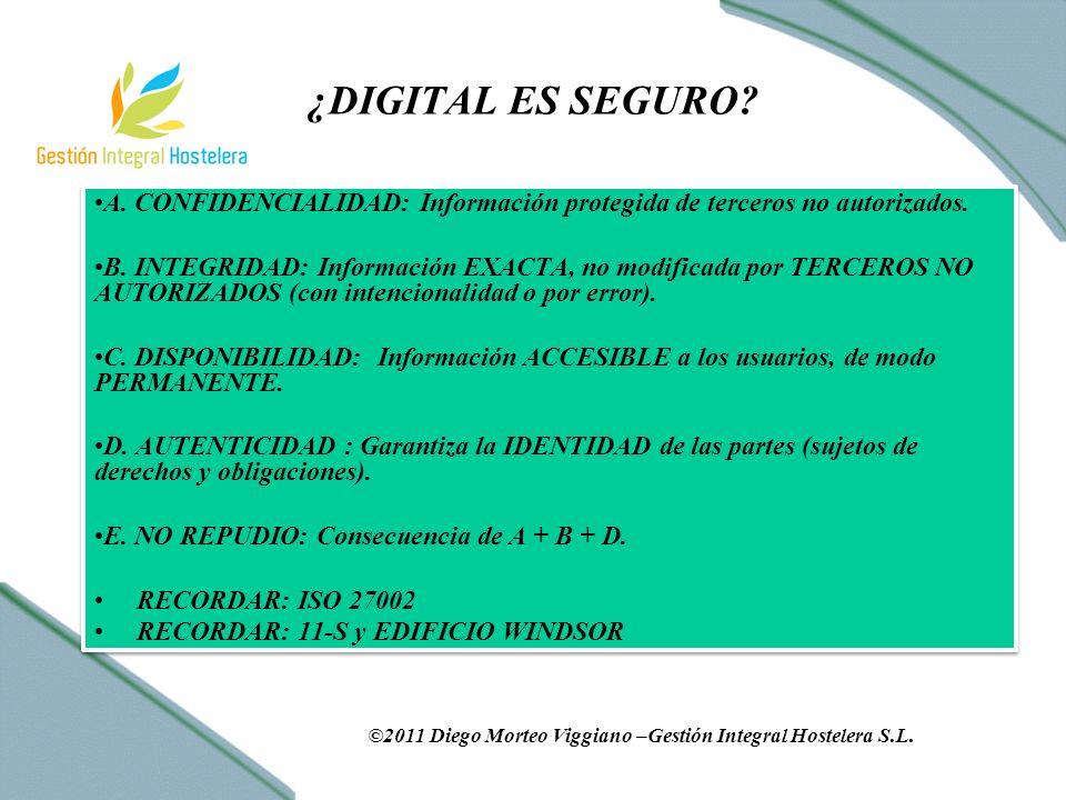 ¿DIGITAL ES SEGURO. A. CONFIDENCIALIDAD: Información protegida de terceros no autorizados.