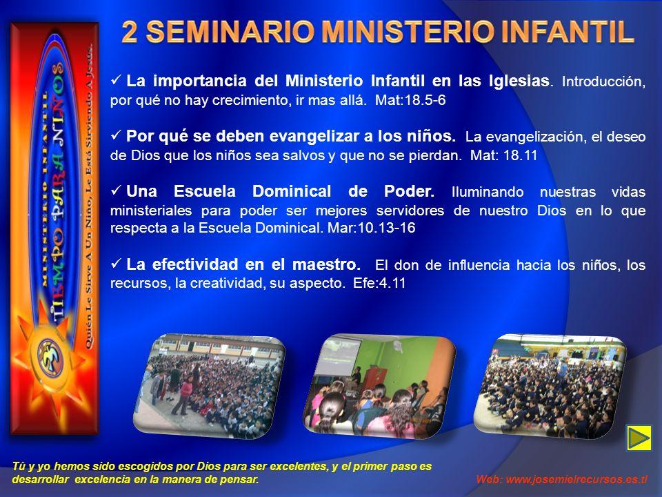 La importancia del Ministerio Infantil en las Iglesias. Introducción, por qué no hay crecimiento, ir mas allá. Mat:18.5-6 Por qué se deben evangelizar