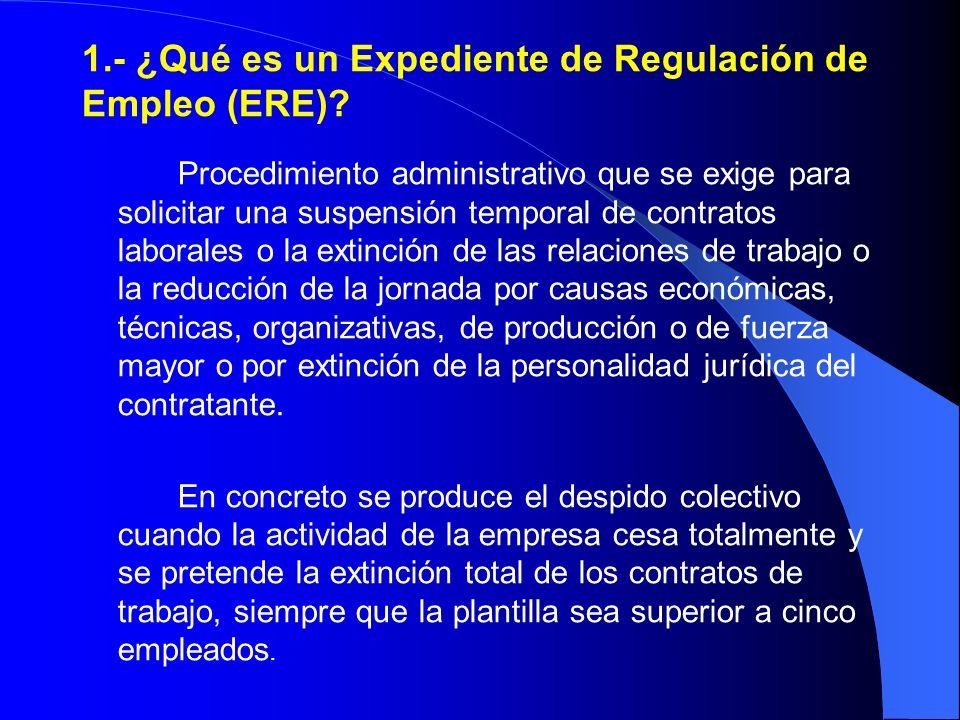 1.- ¿Qué es un Expediente de Regulación de Empleo (ERE)? Procedimiento administrativo que se exige para solicitar una suspensión temporal de contratos