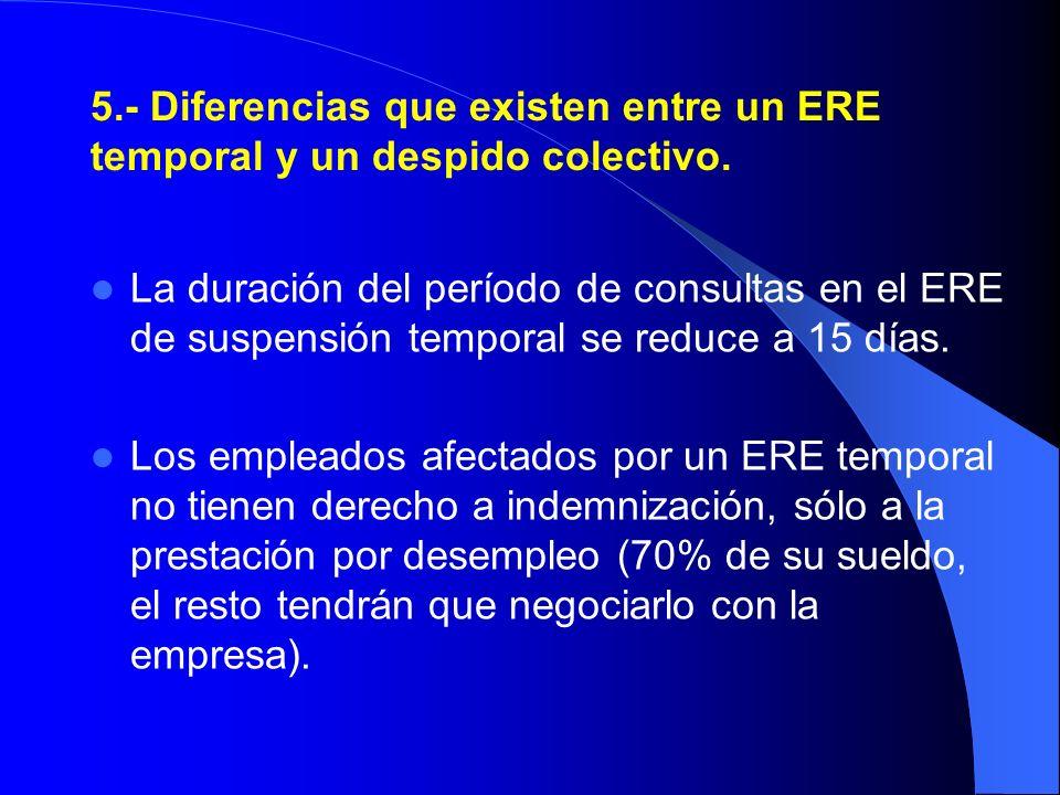 5.- Diferencias que existen entre un ERE temporal y un despido colectivo. La duración del período de consultas en el ERE de suspensión temporal se red