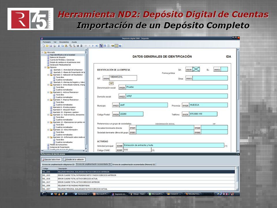 Herramienta ND2: Depósito Digital de Cuentas Importación de un Depósito Completo