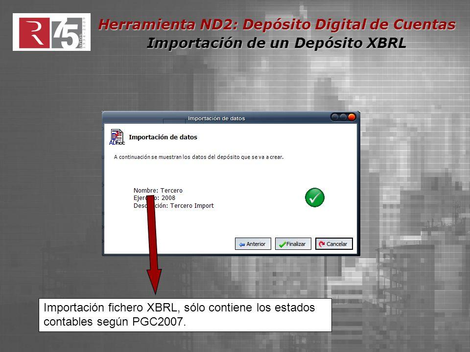 Herramienta ND2: Depósito Digital de Cuentas Importación de un Depósito XBRL Importación fichero XBRL, sólo contiene los estados contables según PGC2007.
