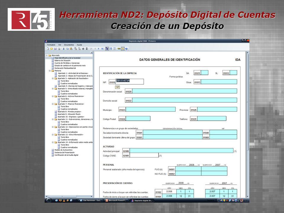 Herramienta ND2: Depósito Digital de Cuentas Gestión de Documentos El tamaño máximo del conjunto de los documentos adjuntos no podrá superar los 10Mb.