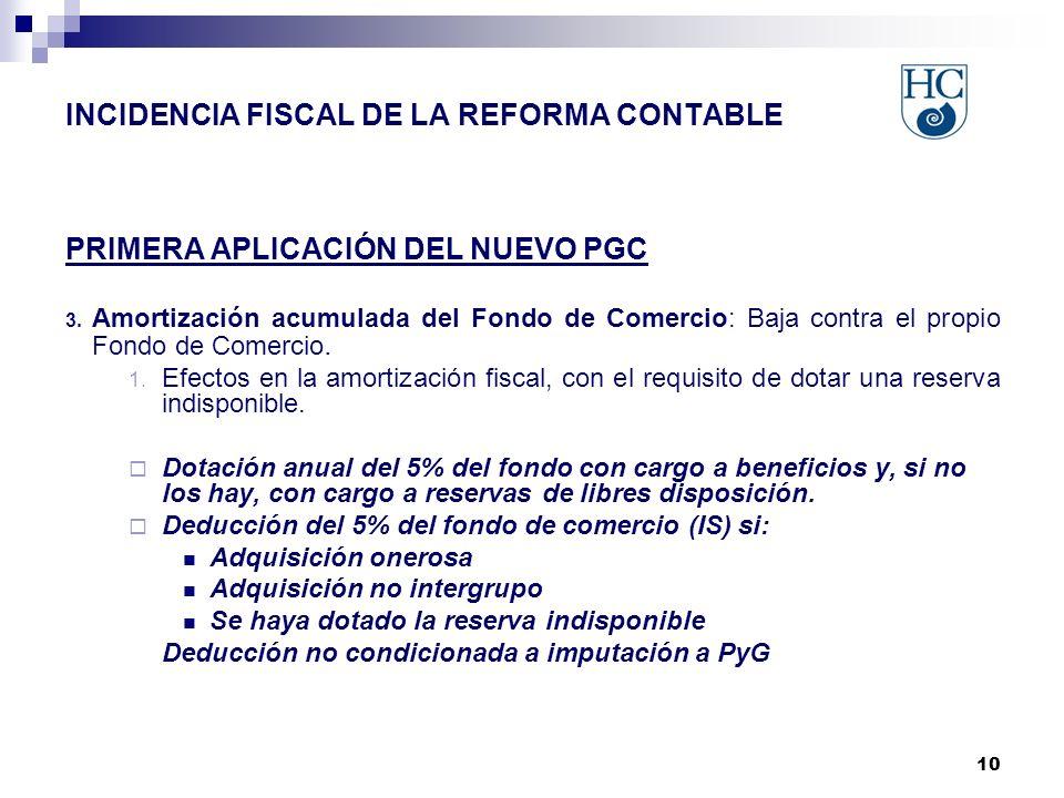 10 INCIDENCIA FISCAL DE LA REFORMA CONTABLE PRIMERA APLICACIÓN DEL NUEVO PGC 3.
