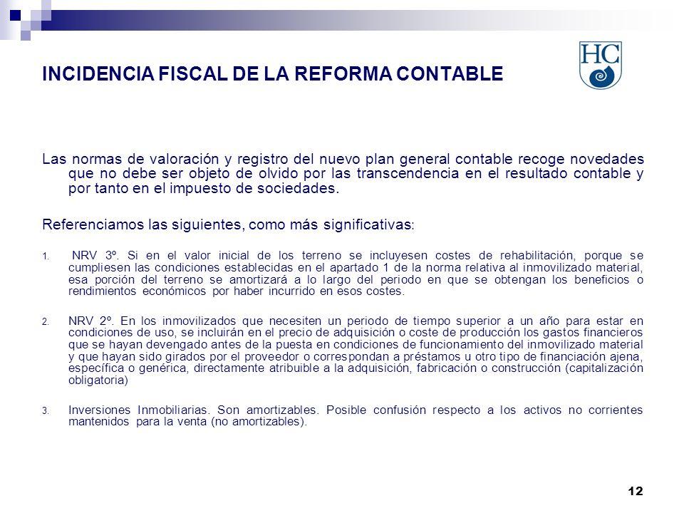 12 INCIDENCIA FISCAL DE LA REFORMA CONTABLE Las normas de valoración y registro del nuevo plan general contable recoge novedades que no debe ser objet