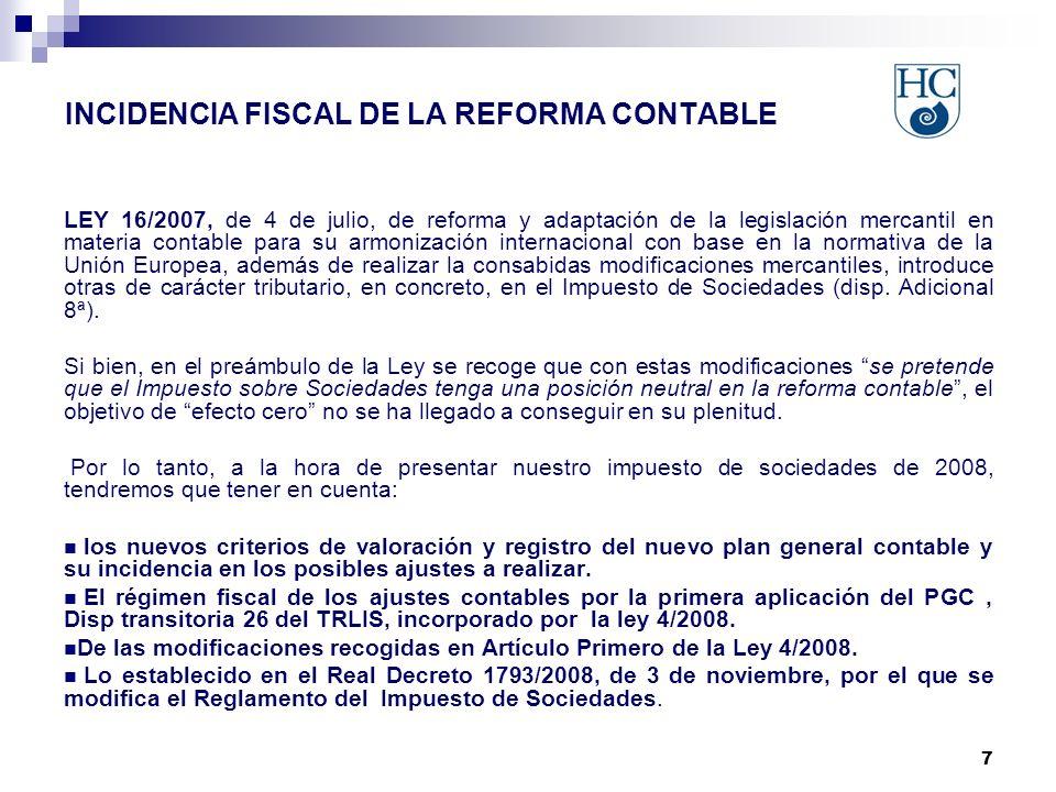 7 LEY 16/2007, de 4 de julio, de reforma y adaptación de la legislación mercantil en materia contable para su armonización internacional con base en la normativa de la Unión Europea, además de realizar la consabidas modificaciones mercantiles, introduce otras de carácter tributario, en concreto, en el Impuesto de Sociedades (disp.