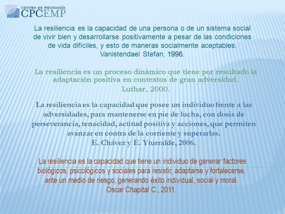 1996. La resiliencia es la capacidad de una persona o de un sistema social de vivir bien y desarrollarse positivamente a pesar de las condiciones de v