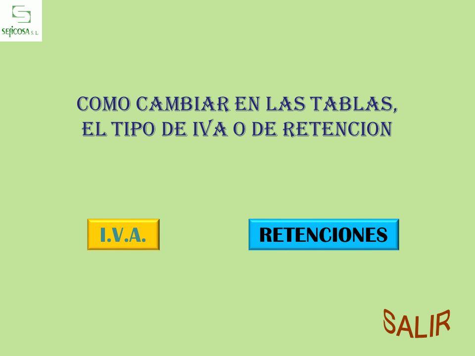 Como cambiar en las tablas, el tipo de IVA o de RETENCION I.V.A.RETENCIONES