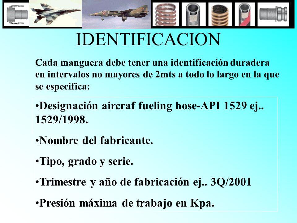 IDENTIFICACION Cada manguera debe tener una identificación duradera en intervalos no mayores de 2mts a todo lo largo en la que se especifica: Designac