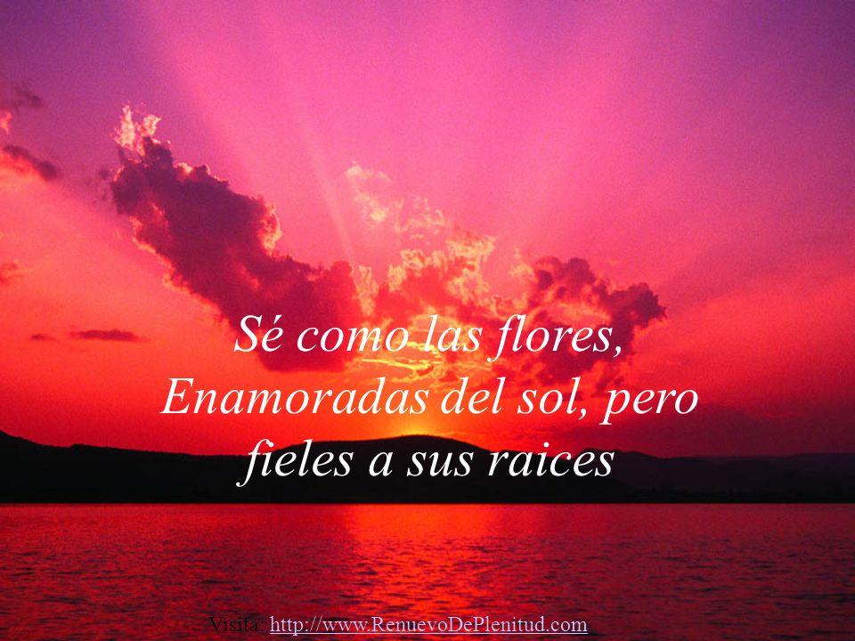 Sé como las flores, Enamoradas del sol, pero fieles a sus raices Visita: http://www.RenuevoDePlenitud.comhttp://www.RenuevoDePlenitud.com