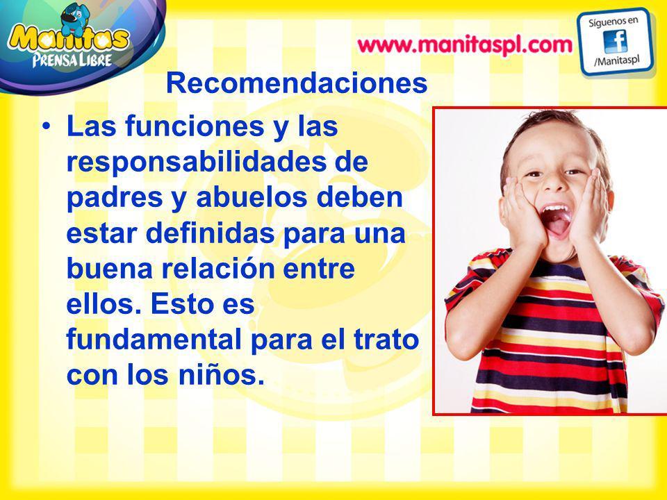 Recomendaciones Las funciones y las responsabilidades de padres y abuelos deben estar definidas para una buena relación entre ellos. Esto es fundament