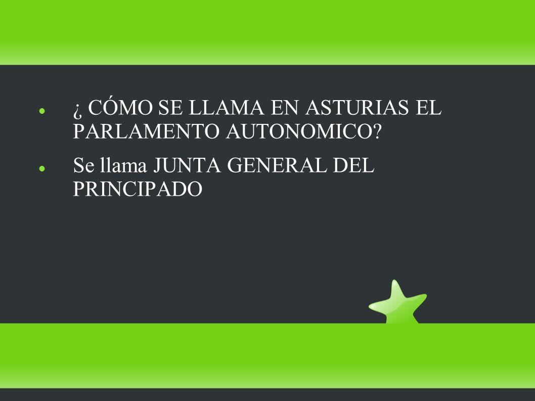 ¿ CÓMO SE LLAMA EN ASTURIAS EL PARLAMENTO AUTONOMICO Se llama JUNTA GENERAL DEL PRINCIPADO