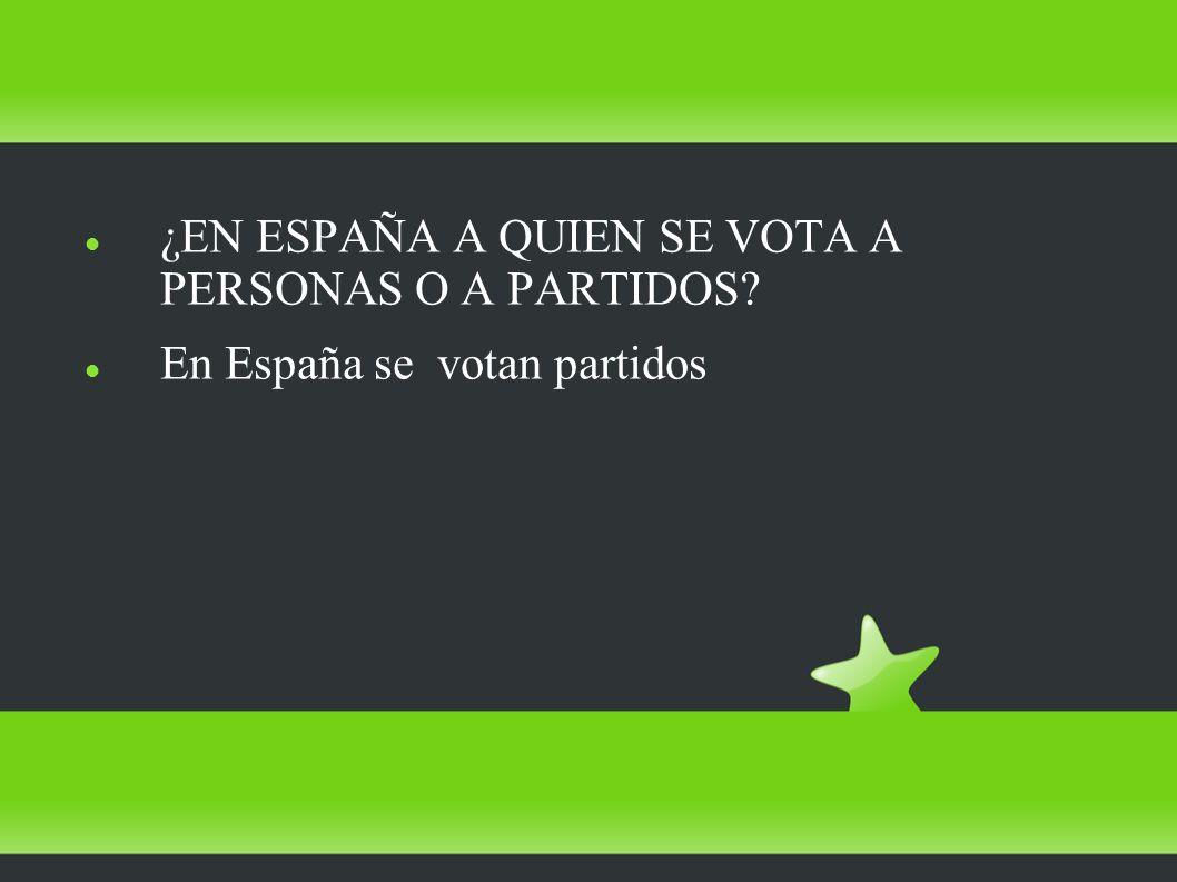 ¿EN ESPAÑA A QUIEN SE VOTA A PERSONAS O A PARTIDOS En España se votan partidos