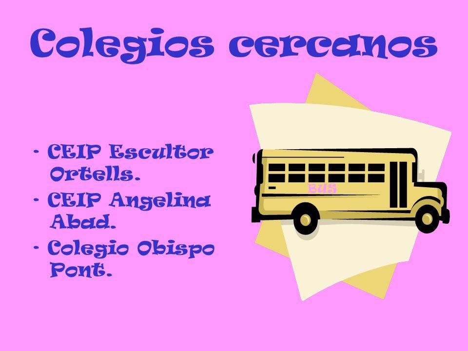Colegios cercanos · CEIP Escultor Ortells. · CEIP Angelina Abad. · Colegio Obispo Pont. BUS