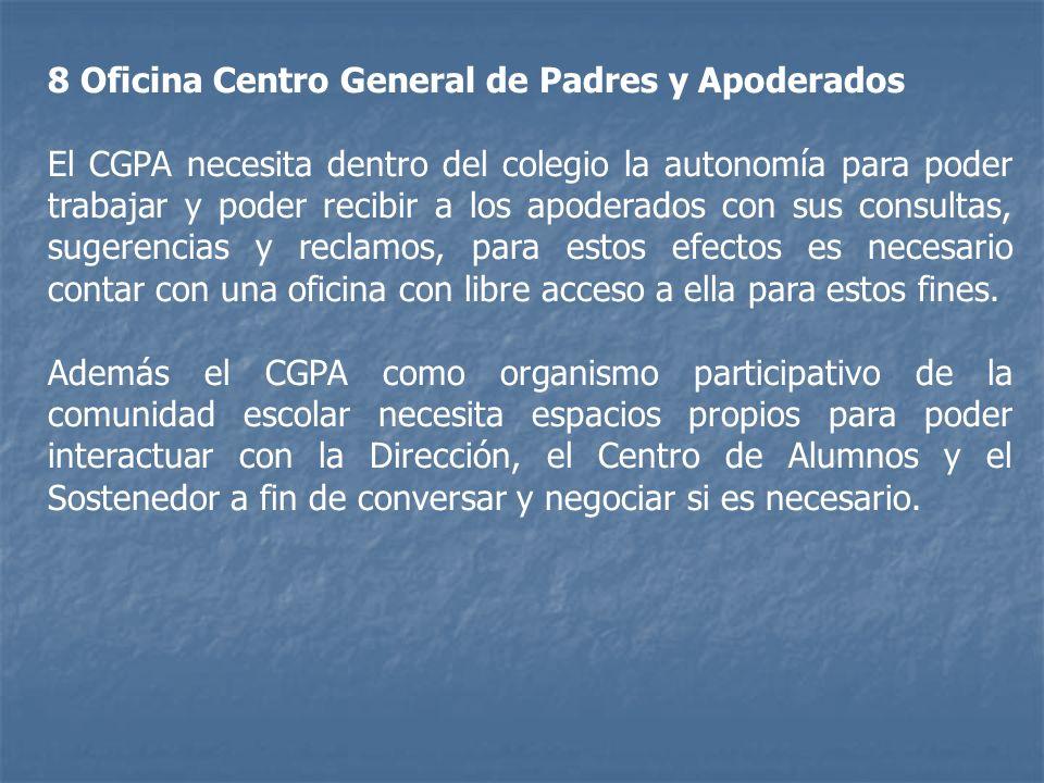 8 Oficina Centro General de Padres y Apoderados El CGPA necesita dentro del colegio la autonomía para poder trabajar y poder recibir a los apoderados