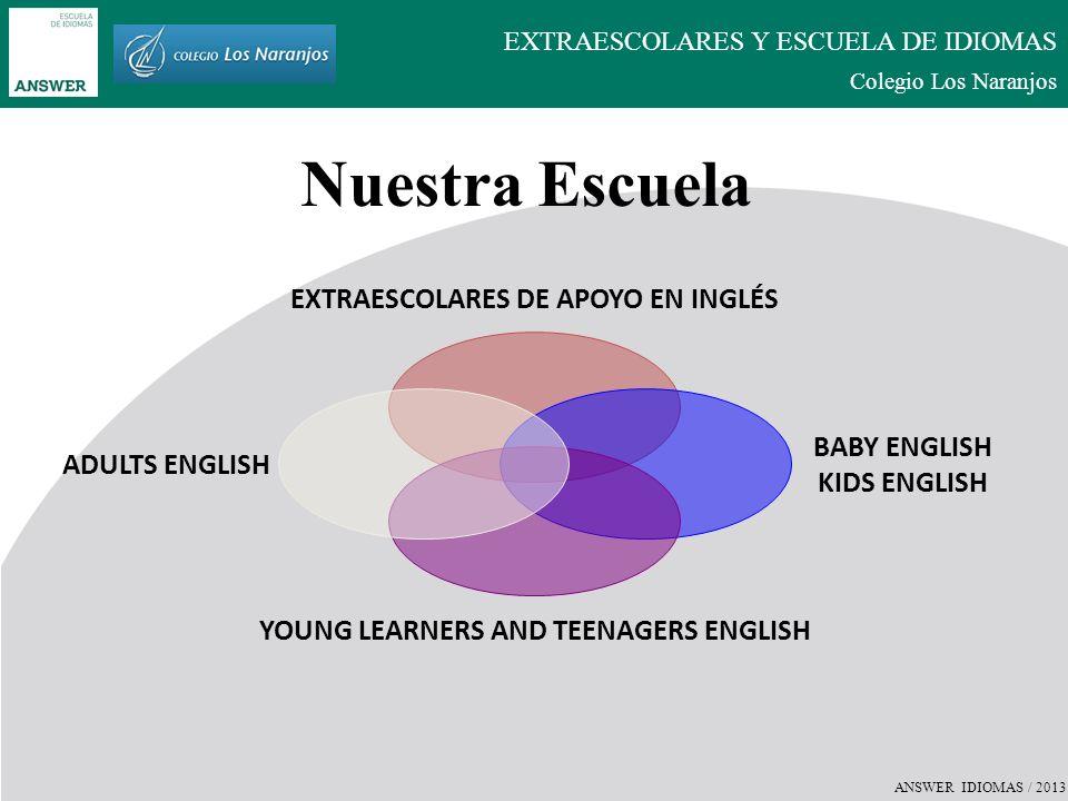 ANSWER IDIOMAS / 2013 EXTRAESCOLARES Y ESCUELA DE IDIOMAS Colegio Los Naranjos EXTRAESCOLARES DE APOYO EN INGLÉS Refuerzo en Inglés para Secundaria y Bachillerato.