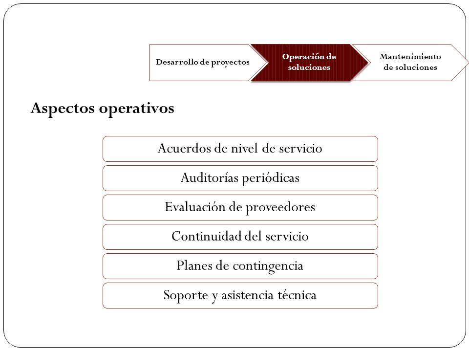 Desarrollo de proyectos Operación de soluciones Mantenimiento de soluciones Acuerdos de nivel de servicio Evaluación de proveedores Auditorías periódi
