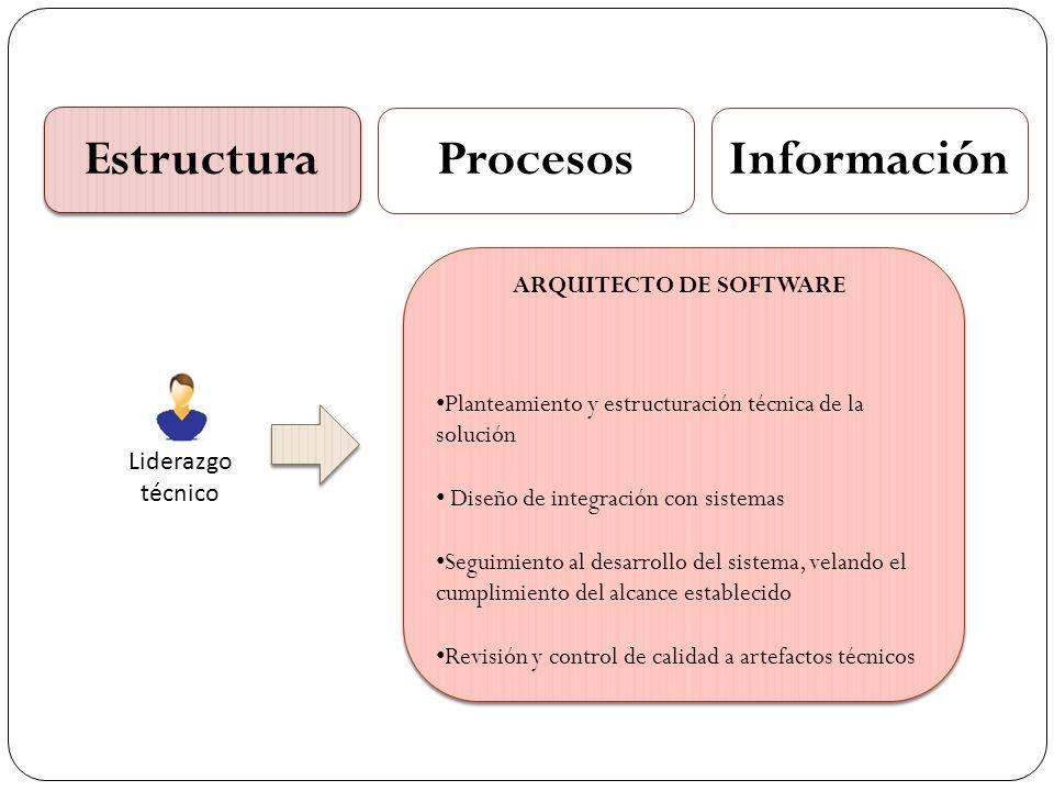 Estructura ProcesosInformación Liderazgo técnico Planteamiento y estructuración técnica de la solución Diseño de integración con sistemas Seguimiento