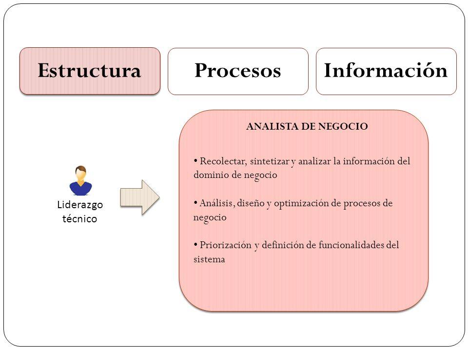 Estructura ProcesosInformación Liderazgo técnico Recolectar, sintetizar y analizar la información del dominio de negocio Análisis, diseño y optimizaci