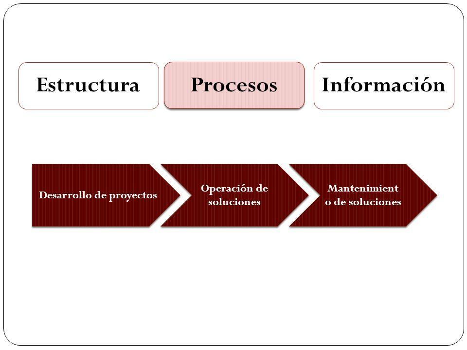 Estructura Procesos Información Desarrollo de proyectos Operación de soluciones Mantenimient o de soluciones