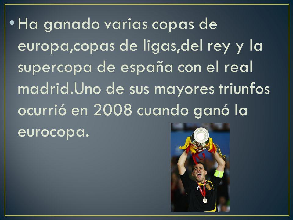 Ha ganado varias copas de europa,copas de ligas,del rey y la supercopa de españa con el real madrid.Uno de sus mayores triunfos ocurrió en 2008 cuando ganó la eurocopa.