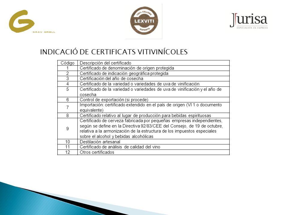 CódigoDescripción del certificado 1Certificado de denominación de origen protegida 2Certificado de indicación geográfica protegida 3Certificación del año de cosecha 4Certificado de la variedad o variedades de uva de vinificación 5Certificado de la variedad o variedades de uva de vinificación y el año de cosecha 6Control de exportación (si procede) 7 Importación: certificado extendido en el país de origen (Vl 1 o documento equivalente) 8Certificado relativo al lugar de producción para bebidas espirituosas 9 Certificado de cerveza fabricada por pequeñas empresas independientes, según se define en la Directiva 92/83/CEE del Consejo, de 19 de octubre, relativa a la armonización de la estructura de los impuestos especiales sobre el alcohol y bebidas alcohólicas 10Destilación artesanal 11Certificado de análisis de calidad del vino 12Otros certificados INDICACIÓ DE CERTIFICATS VITIVINÍCOLES