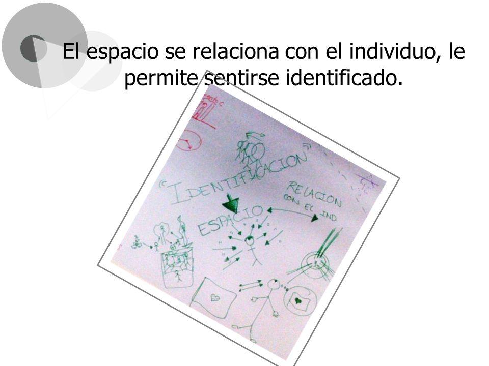 El espacio se relaciona con el individuo, le permite sentirse identificado.