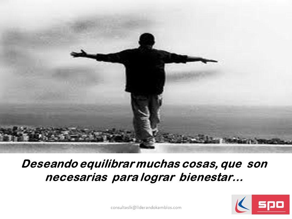 Deseando equilibrar muchas cosas, que son necesarias para lograr bienestar… consultaslk@liderandokambios.com