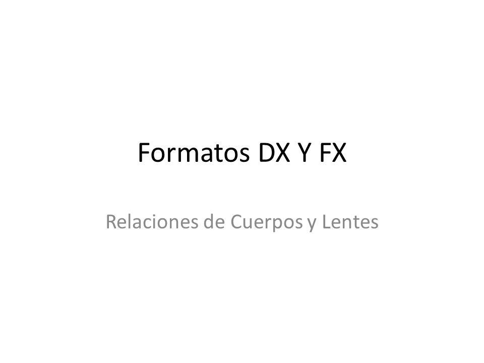 Relaciones de Cuerpos y Lentes Formatos DX Y FX
