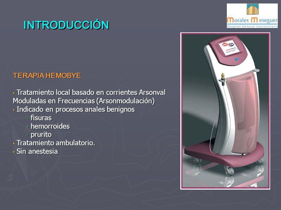 INTRODUCCIÓN TERAPIA HEMOBYE Tratamiento local basado en corrientes Arsonval Moduladas en Frecuencias (Arsonmodulación) Indicado en procesos anales benignos fisuras hemorroides prurito Tratamiento ambulatorio.