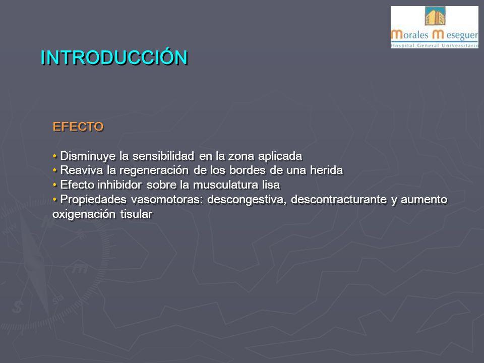 EFECTO Disminuye la sensibilidad en la zona aplicada Reaviva la regeneración de los bordes de una herida Efecto inhibidor sobre la musculatura lisa Propiedades vasomotoras: descongestiva, descontracturante y aumento oxigenación tisular EFECTO Disminuye la sensibilidad en la zona aplicada Reaviva la regeneración de los bordes de una herida Efecto inhibidor sobre la musculatura lisa Propiedades vasomotoras: descongestiva, descontracturante y aumento oxigenación tisular INTRODUCCIÓN