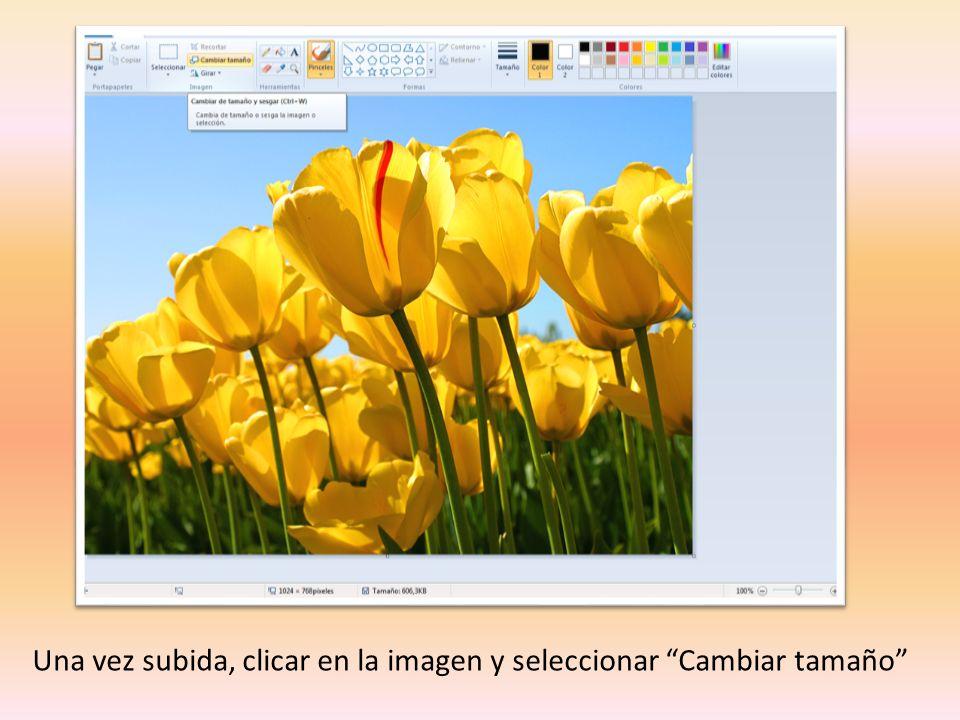 Una vez subida, clicar en la imagen y seleccionar Cambiar tamaño