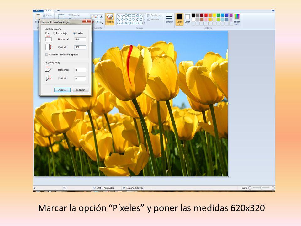 Marcar la opción Píxeles y poner las medidas 620x320