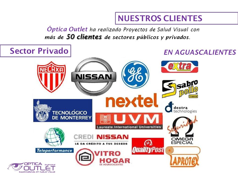 NUESTROS CLIENTES Óptica Outlet ha realizado Proyectos de Salud Visual con 50 clientes más de 50 clientes de sectores públicos y privados. Sector Priv