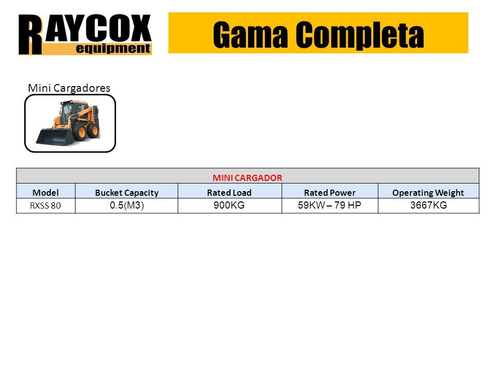 Gama Completa Mini Cargadores MINI CARGADOR ModelBucket CapacityRated LoadRated PowerOperating Weight RXSS 80 0.5(M3)900KG59KW – 79 HP3667KG