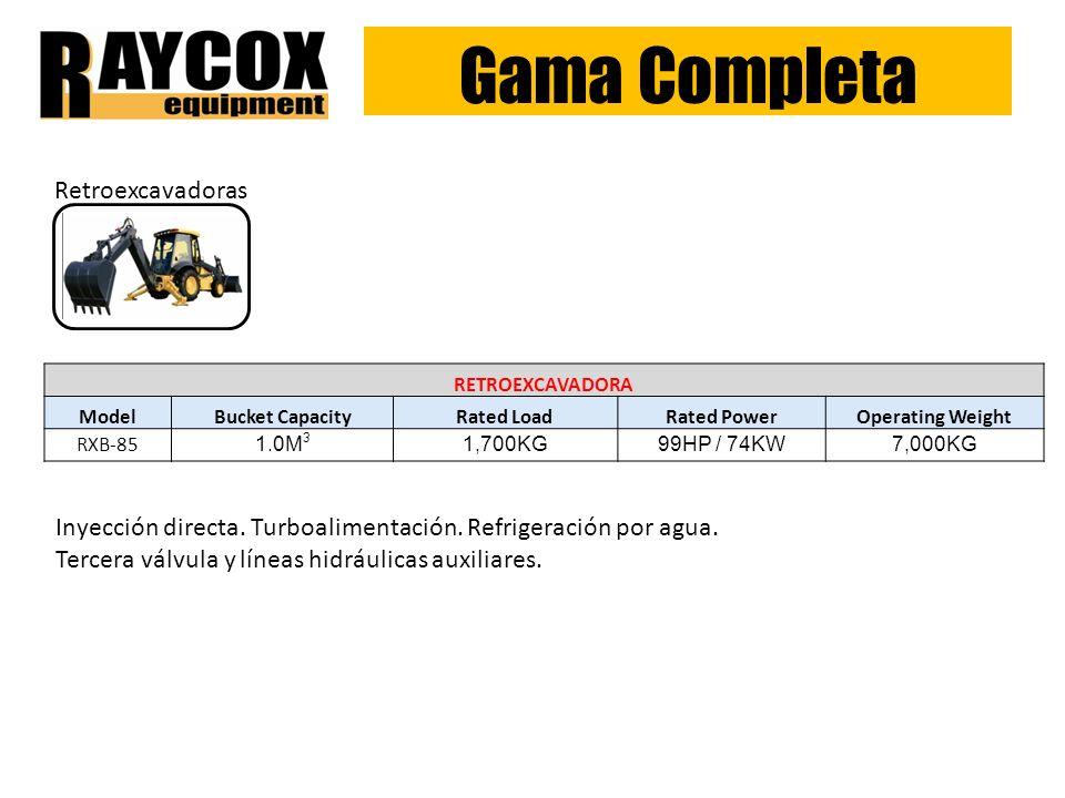 Gama Completa Retroexcavadoras RETROEXCAVADORA ModelBucket CapacityRated LoadRated PowerOperating Weight RXB-85 1.0M 3 1,700KG99HP / 74KW7,000KG Inyección directa.