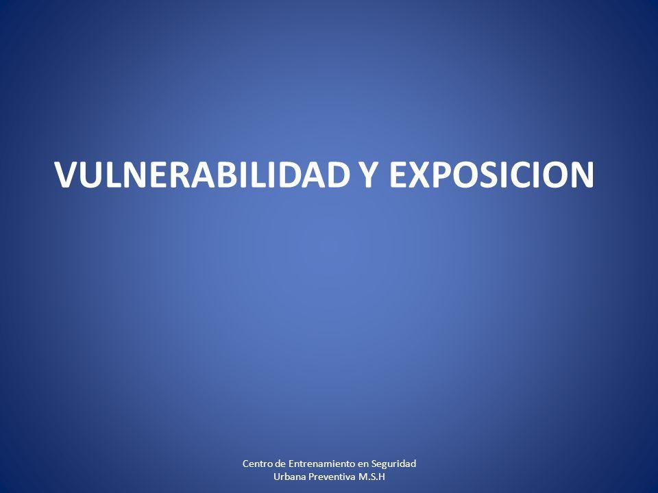 VULNERABILIDAD Y EXPOSICION Centro de Entrenamiento en Seguridad Urbana Preventiva M.S.H