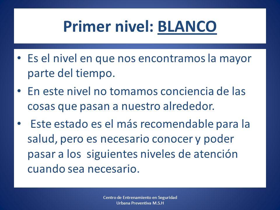 Primer nivel: BLANCO Es el nivel en que nos encontramos la mayor parte del tiempo.