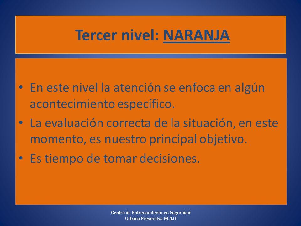 Tercer nivel: NARANJA En este nivel la atención se enfoca en algún acontecimiento específico. La evaluación correcta de la situación, en este momento,
