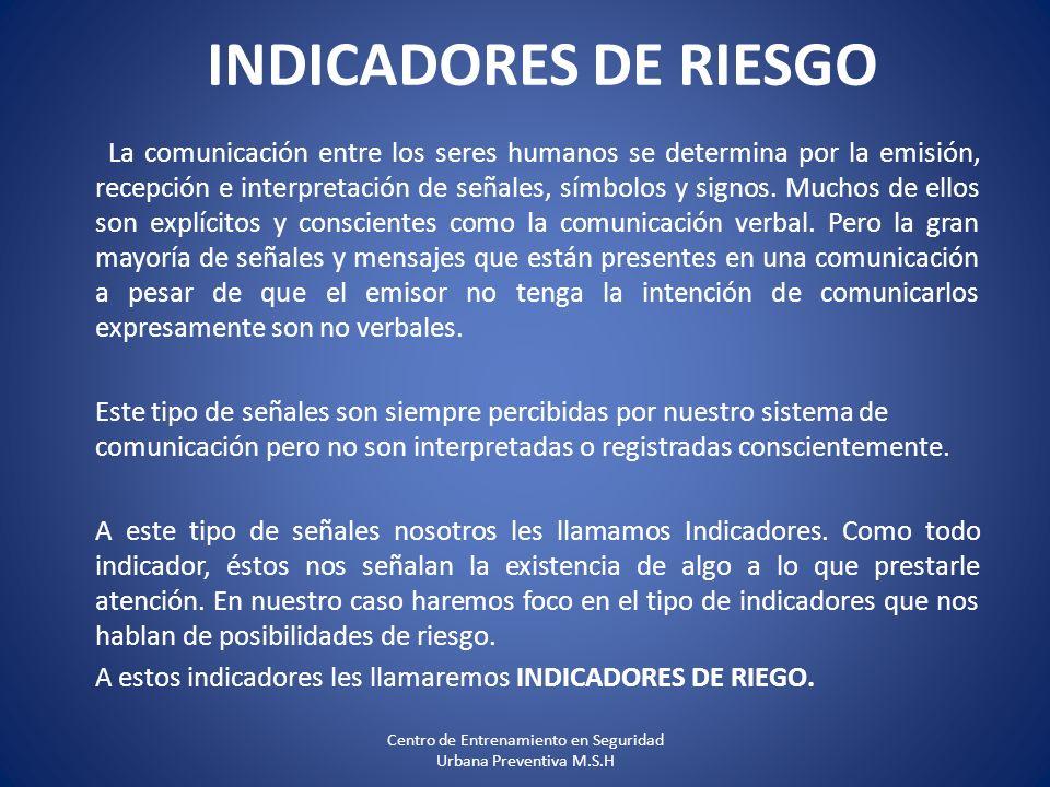 INDICADORES DE RIESGO La comunicación entre los seres humanos se determina por la emisión, recepción e interpretación de señales, símbolos y signos. M