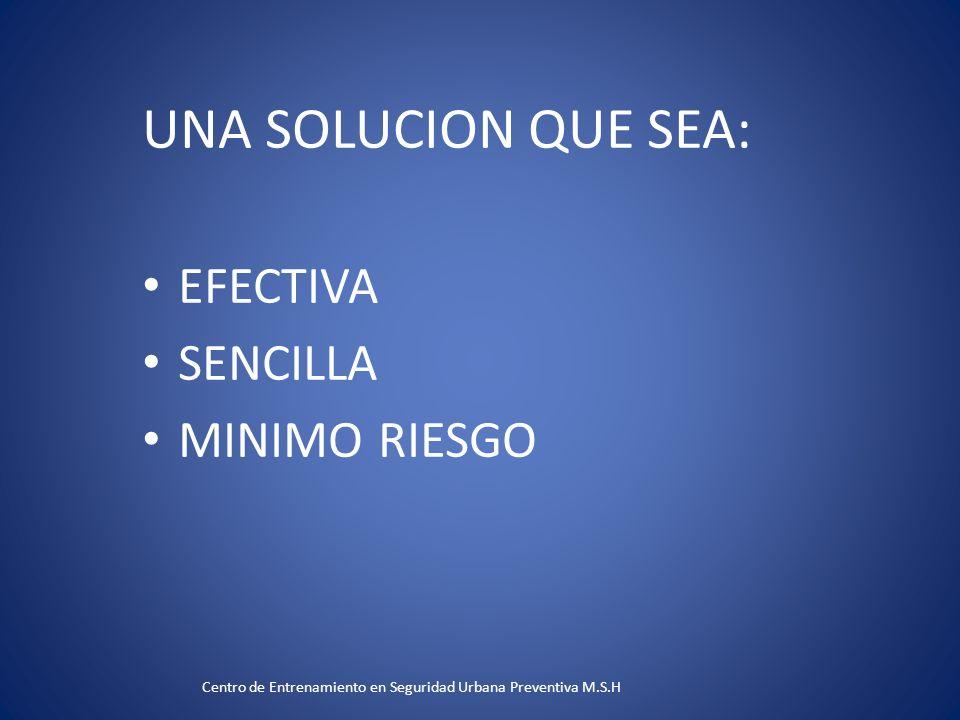 UNA SOLUCION QUE SEA: EFECTIVA SENCILLA MINIMO RIESGO Centro de Entrenamiento en Seguridad Urbana Preventiva M.S.H
