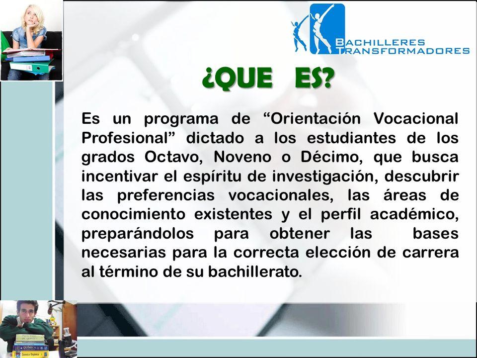 Es un programa de Orientación Vocacional Profesional dictado a los estudiantes de los grados Octavo, Noveno o Décimo, que busca incentivar el espíritu