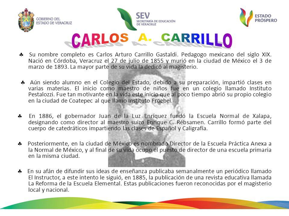 Su nombre completo es Carlos Arturo Carrillo Gastaldi. Pedagogo mexicano del siglo XIX. Nació en Córdoba, Veracruz el 27 de julio de 1855 y murió en l